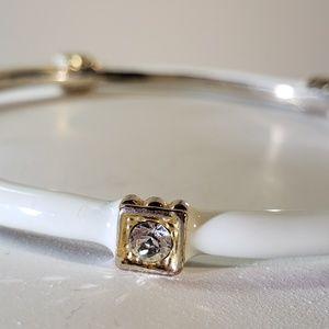 White Enamel Gold and Rhinestone Bangle Bracelet
